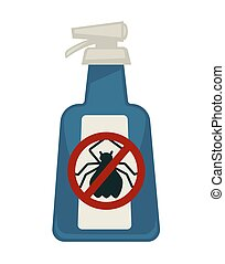 Spray bottle with antipest sign isolated on white - Spray...
