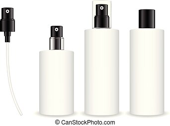 Spray bottles isolated on white background. Cosmetic container for liquid, gel, lotion, cream.