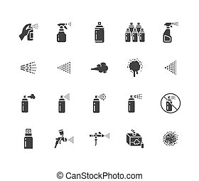 Spray can flat glyph icons set. Hand with aerosol, airbrush,...
