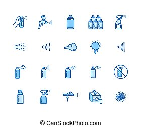 Spray can flat line icons set. Hand with aerosol, airbrush,...