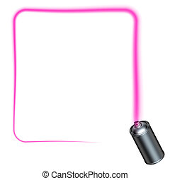 spray can spraying a pink square border with rounded corners