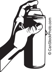 Spray Can - This is a vector illustration of a hand holding...