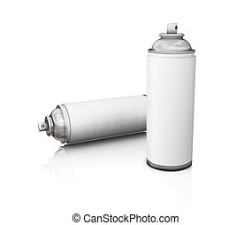 3D render of blank spray cans