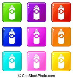 Spray deodorant icons set 9 color collection