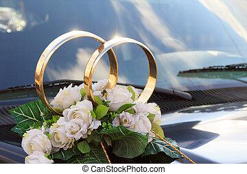Spray, flower arrangement for a wedding on a car - A flower...
