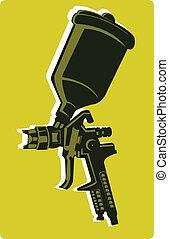 Spray gun with accessory
