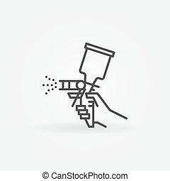 Spray gun line icon. Vector airbrush in hand symbol in thin...