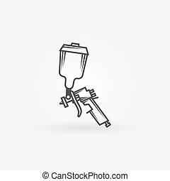 Spray gun logo - Spray gun icon or logo - black vector...