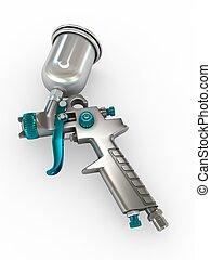 Spray Gun - 3D Illustration Spray Gun on White Background