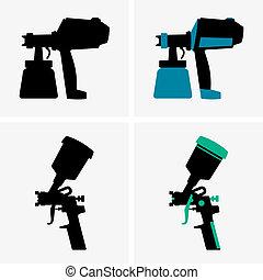 Set of four spray guns