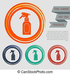 Spray icon on the red, blue, green, orange buttons for your website and design with space text. Vector