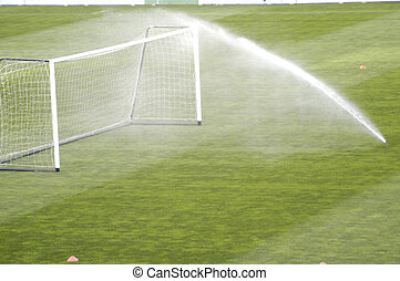 spray irrigation of a football stadium