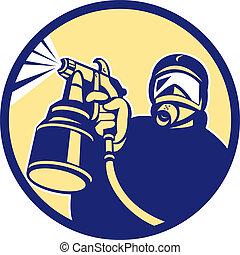 Spray Paint Gun Painter Spraying Retro - Illustration of car...