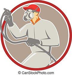Spray Painter Paint Gun Spraying Circle Retro - Illustration...