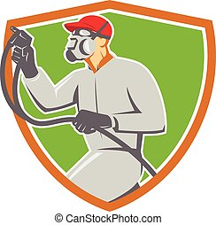Spray Painter Paint Gun Spraying Shield Retro - Illustration...