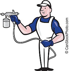 Illustration of spray painter with spray paint gun done in cartoon style on isolated white background.