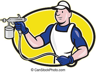 Spray Painter Spraying Gun Cartoon - Illustration of spray...