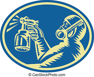 Illustration of a spray painter spraying paint spray gun done in woodcut retro style set inside ellipse viewed from side.