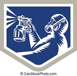 Spray Painter Spraying Woodcut Crest Retro - Illustration of...