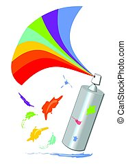 Spray with a rainbow fan and colorful blot