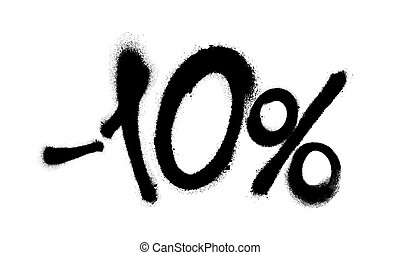Sprayed -10 percent graffiti with overspray in black over white. Vector illustration.