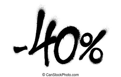 Sprayed -40 percent graffiti with overspray in black over white. Vector illustration.