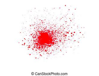 Sprayed red paint
