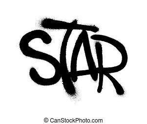 Sprayed star font graffiti with overspray in black over white. Vector illustration.