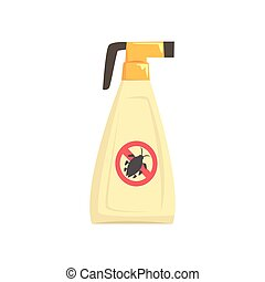 Sprayer bottle of insecticide, extermination of pest insects cartoon vector illustration