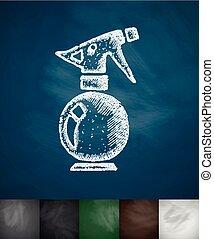 sprayer icon. Hand drawn vector illustration. Chalkboard...