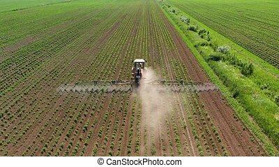 sprayer, pesticiden, groente, tractor, het verstuiven, akker