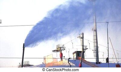 Sprayer snow. Snow blower. Snow gun. 4K. - Sprayer snow....