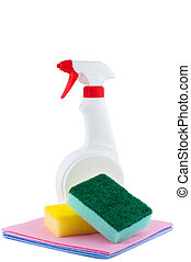 Sprayer with rags and sponge for cleaning.