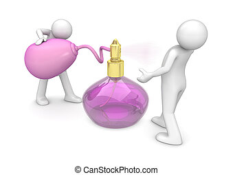 Spraying new fragrance - 3d isolated on white background ...