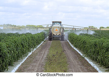 Spraying pesticides - 3 - The application of pesticides on a...