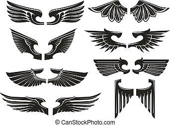 Spread heraldic wings black icons - Spread wings design...