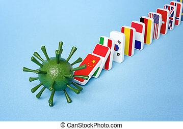 Worldwide spread of Coronavirus disease. COVID-19 pandemic. Domino effect