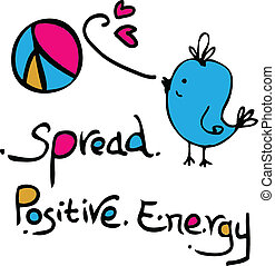 Spread positive energy blue bird with peace symbol typography line art