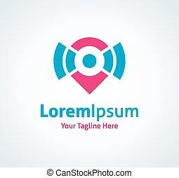 Spread the word locator position vector logo icon