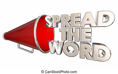 Spread the Word Share Information Bullhorn Megaphone 3d Illustration