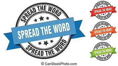spread the word stamp. round band sign set. label