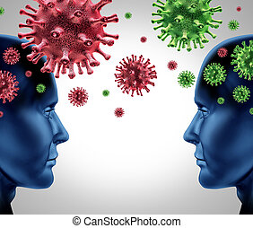 Contagious disease infection with two humans spreading germs and virus cells infecting and transfering the viral infection as a medical healthcare concept.