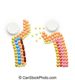 Creative health concept made of drugs and pills, isolated on white. A person that caught a cold, sneezing and spreading disease on another person.