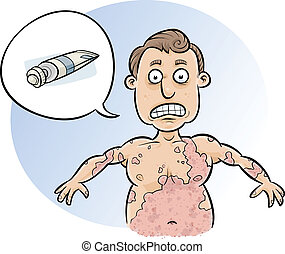 Spreading Rash - A cartoon man asks for cream to stop his...