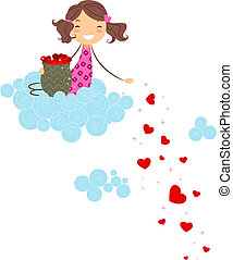 Spreading the Love - Illustration of a Girl Scattering...