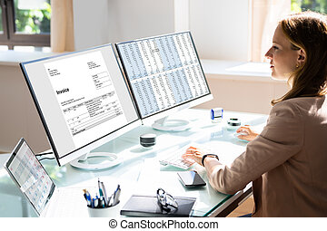 Spreadsheet Business Data Analyst Working