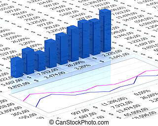 spreadsheet, com, azul, gráfico