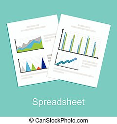 spreadsheet, conceito, illustration.