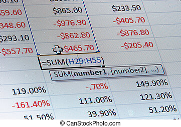 A macro image of a spreadsheet with dollar and percentages