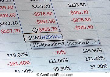 spreadsheet, data